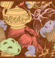 tea coffee and cupcakes seamless pattern festive vector image