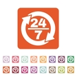 The 24 7 icon Open and assistance support symbol vector image vector image