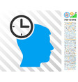 time management head flat icon with bonus vector image vector image