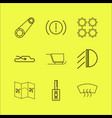transport and transportation linear icon set vector image vector image