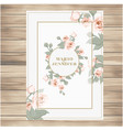 wedding label pink roses vanilla background vector image