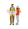young happy romantic couple during hiking modern vector image
