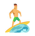 young man surfboarder riding a surfboard in the vector image
