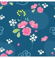 abstract flowers seamless pattern with navy vector image vector image