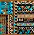 african doodle ethnic texture in blue and brown vector image vector image