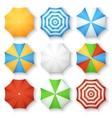Beach sun umbrellas top view icons vector image vector image