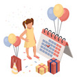 birthday party isolated concept with colourful vector image