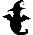 black cat in witch hat and with bat wings vector image vector image