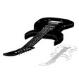 Black guitar on white background vector image