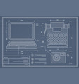 blueprint plan outline draft personal computer vector image vector image