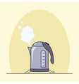 boiling electric kettle on a yellow background vector image vector image