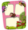 border template with many insects in garden vector image vector image