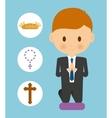 bread cross rosary boy kid cartoon icon vector image vector image