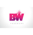 bw b w letter logo with pink purple color and vector image vector image