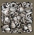 cartoon doodles coffee vector image
