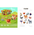 cartoon farm colorful concept vector image