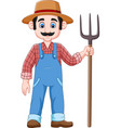 cartoon farmer holding a pitchfork vector image vector image
