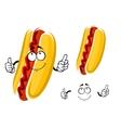 Cartoon hot dog character with ketchup vector image