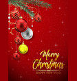 christmas red background with colorful balls vector image