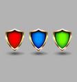 colorful shields set banner grey background red vector image vector image
