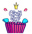 creative pink label for candy shop vector image vector image