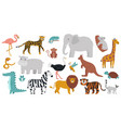 cute african animals wood jungle or savanna vector image