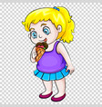 cute girl eating icecream on transparent vector image vector image