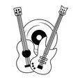 electric and classical guitar vinyl music vector image vector image
