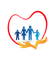 family love protected hands logo vector image vector image