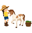 Farm girl with little pony vector image vector image