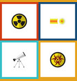 flat icon study set of scope danger chemical and vector image
