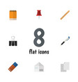flat icon tool set of pencil rubber pushpin and vector image vector image
