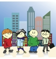 Four teenage boy on a background of the city vector image vector image