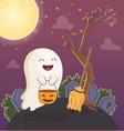 ghost with bucket pumpkin and broom halloween vector image vector image