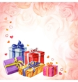 Gifts for Valentines Day on a pink background with