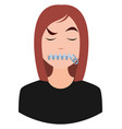 girl with closed mouth on white background vector image vector image