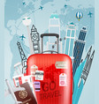 go travel concept with red bag vector image vector image