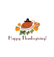 happy thanksgiving with pieturkey pilgrim hat and vector image vector image