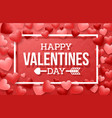 happy valentines day with heart on red background vector image vector image