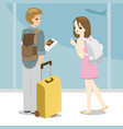 happy young couple with bags at airport vector image vector image