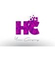 hc h c dots letter logo with purple bubbles vector image vector image