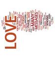 love messages text background word cloud concept vector image vector image