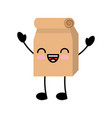 lunch bag in paper bag kawaii character vector image vector image