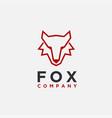 minimalist abstract line art wolf head logo icon vector image vector image