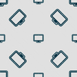 monitor icon sign Seamless pattern with geometric vector image vector image