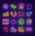 neon signboards for casino poker gambling vector image