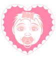 newborn baby girl with pacifier portrait in a vector image