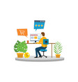 online shopping e-commerce man shop in front of vector image