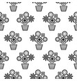 outline flowers in pots seamless pattern texture vector image vector image