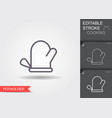 oven glove line icon with editable stroke with vector image